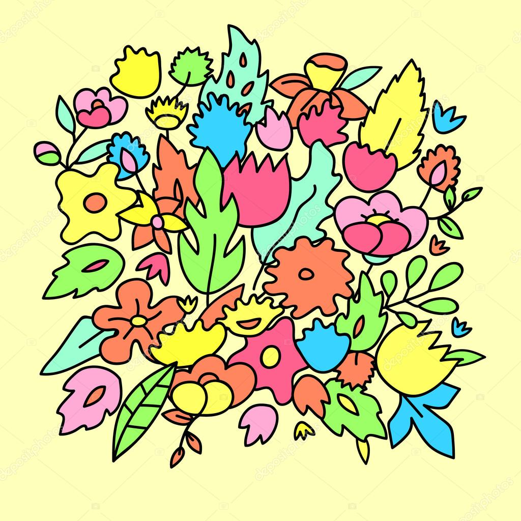 Pastel Infantil De Lindo Color Flores Plantilla De Vector Archivo