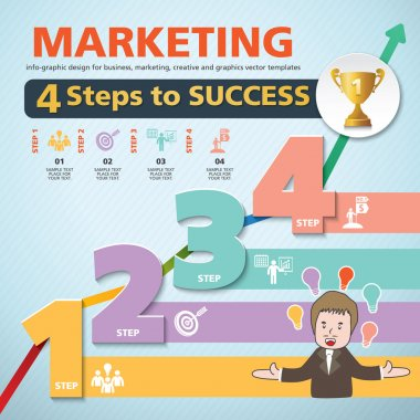 4 Steps to success template modern info graphic design