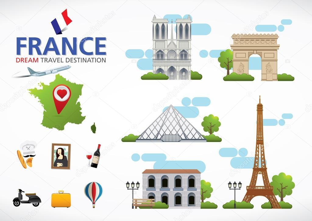 France Travel Destination Symbols Of France Stock Vector