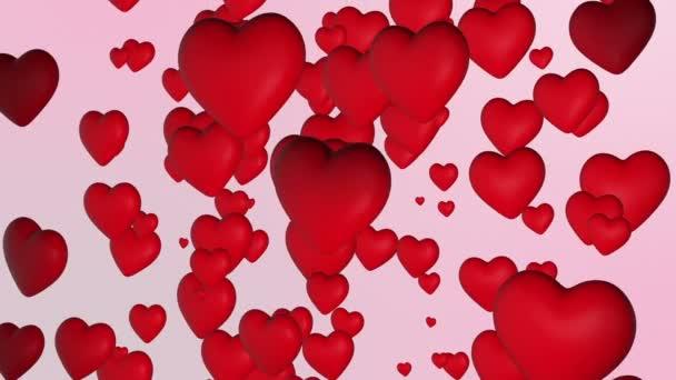 Symbol srdce a lásky. Červená srdce plovoucí na světlém pozadí. Tvar srdce se používá k vyjádření lásky v srdci