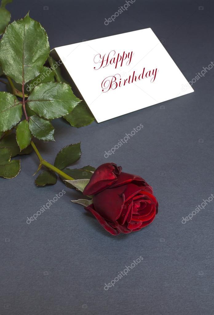 Carte D Anniversaire Avec Une Rose Rouge Texte Joyeux Anniversaire