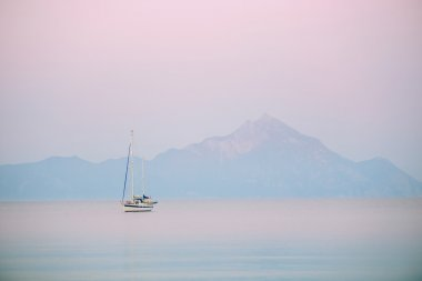 Sunrise with yacht