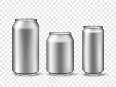 3d aluminum cans. Realistic can mockups in 3 size. Metallic tin for beer, juice, soda drink or lemonade. Canned beverage vector template set. Metal steel bank, aluminum packaging illustration icon