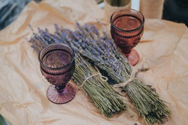 vintage glasses and bundles of lavender