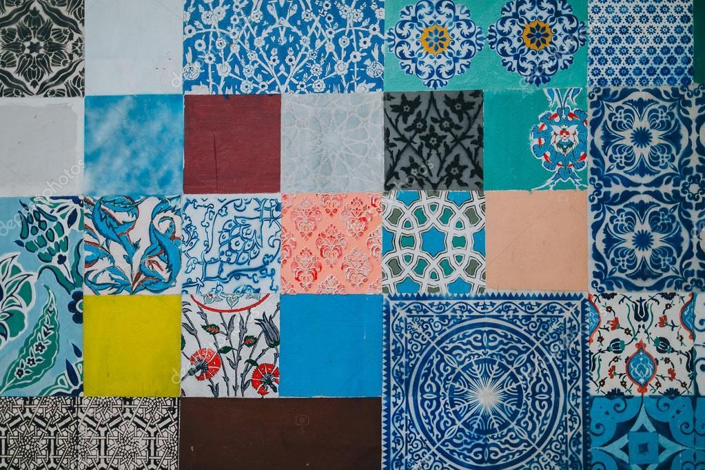 multi colored ceramic tiles stock photo - Colored Floor Tiles