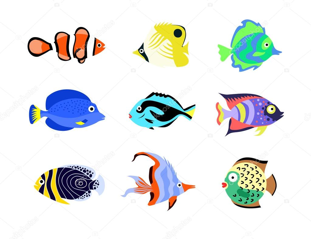 Tropical fish icons. Flat style vector illustration.