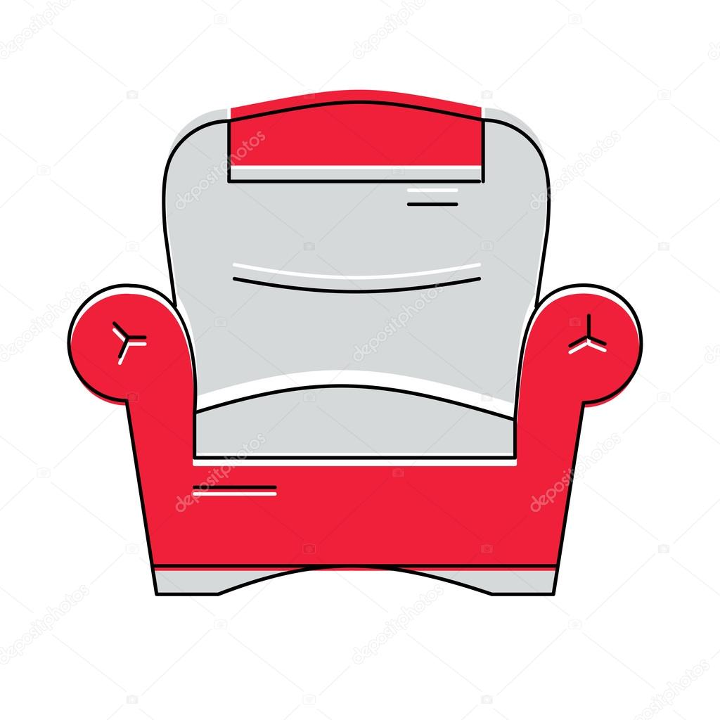 Red comfortable armchair logo or icon, vector illustration — Stock ...