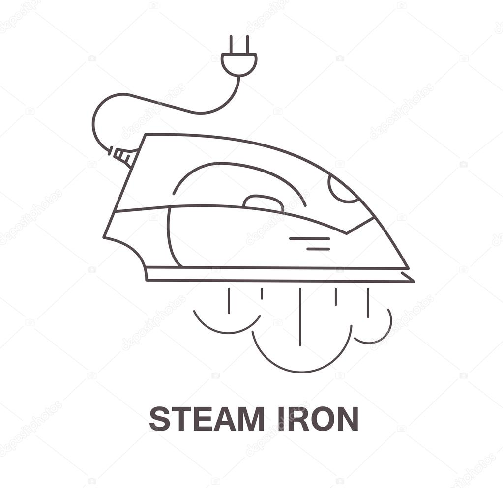 Steam Iron Icon ~ Einfaches symbol bügeleisen mit dampf vektor illustration