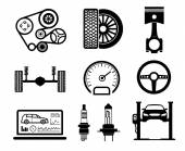 Photo Car maintenance and repair icon set, vector