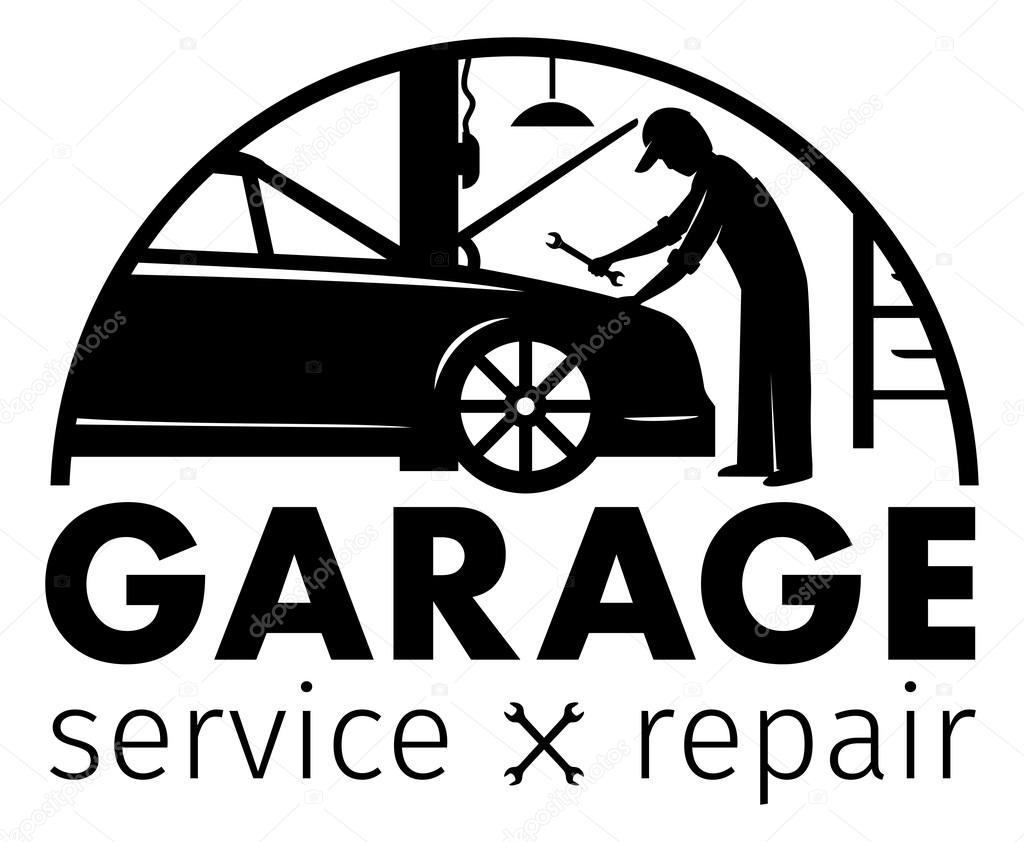 auto centrum garage onderhoud en reparatie logo vector sjabloon stockvector maximkostenko. Black Bedroom Furniture Sets. Home Design Ideas