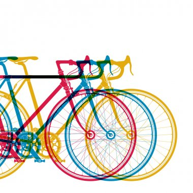Abstract background 3 bikes in different colors on white, vector illustration for your design
