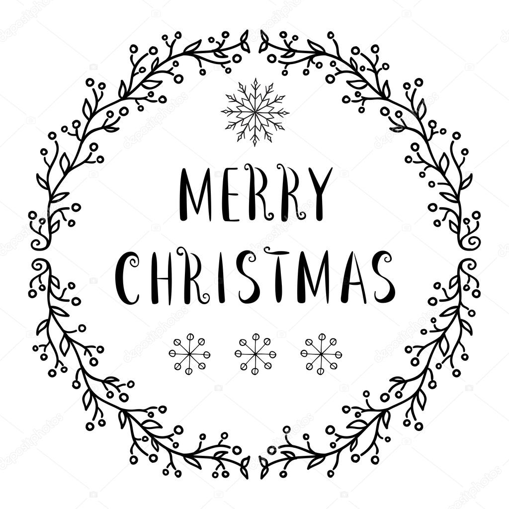 Frohe Weihnachten-Text - Design mit Schneeflocken-Schriftzug ...