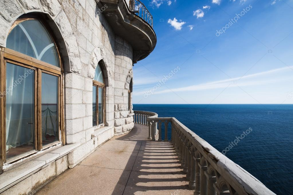 Landscape Castle Swallows nest Crimea and deep blue sea