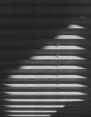Window white fabric blinds with sunlight, morning