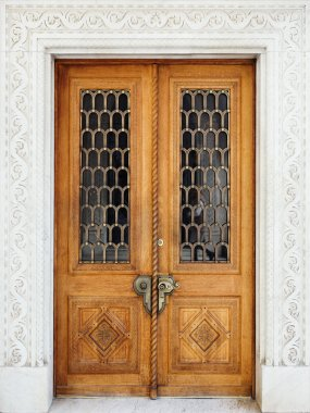 Livadia palace exterior. Vintage wooden door.