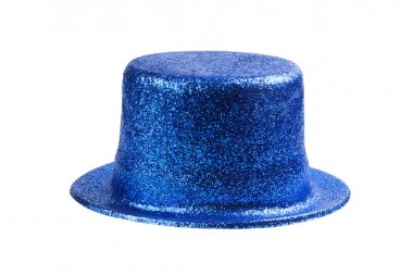 Blue glitter party hat isolated on white stock vector