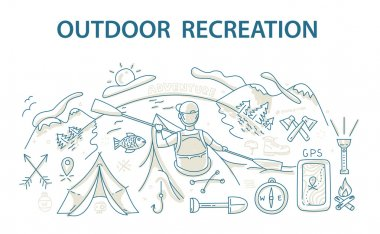 Doodle style design concept of outdoor recreation and travel.
