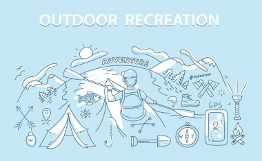 Line style design concept of outdoor recreation and travel.