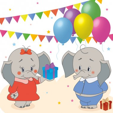 Cute happy birthday card with elephant