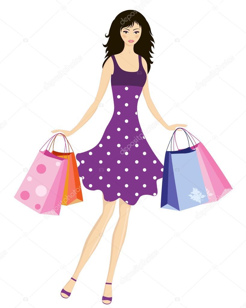 Dessin Shopping robe de fille de dessin animé mignon en été, shopping — image