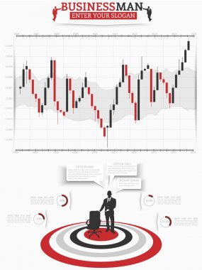 INFOGRAPHIC BUSINESSMAN BINARY OPTION TRADING RED