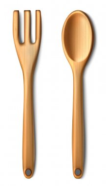 3d realistic vector wooden cutlery, isolated on white background. icon