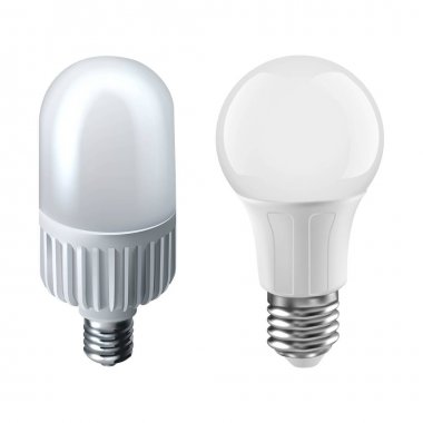 3d realistic vector icon illustration of two types of light bulbs. Isolated on white background. icon
