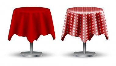 Set of two 3d realistic vector cafe tables with red tablecloth and checkered on top. Isolated on white background. icon