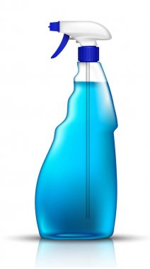 3d realistic vector blue spray bottle of glass cleaner. Isolated illustration icon on white background. icon