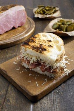 top view  pastrami sandwich