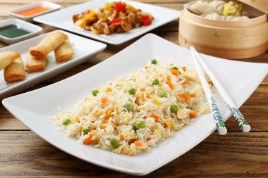 asian food rice with vegetables