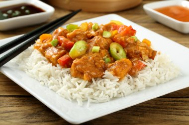 Asian food  meat with vegetables and rice