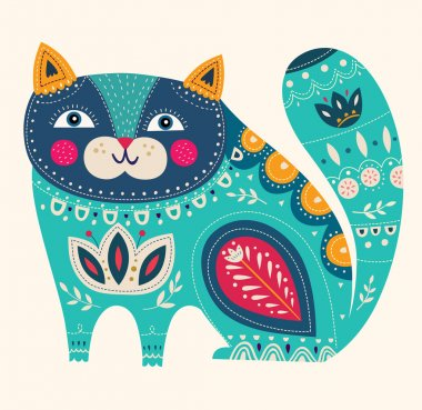 Beautiful decorative vector cat in blue colors stock vector