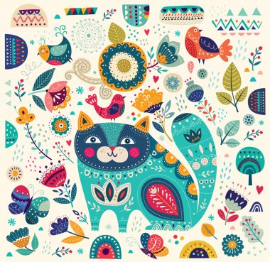 illustration with cat, butterflies, birds and flowers