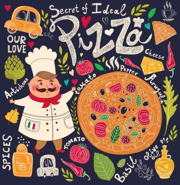 Pizza design menu with chef