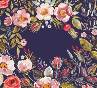 Background with hand drawn floral wreath.