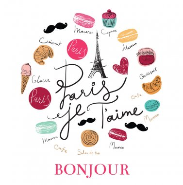 Hand drawn Paris symbols