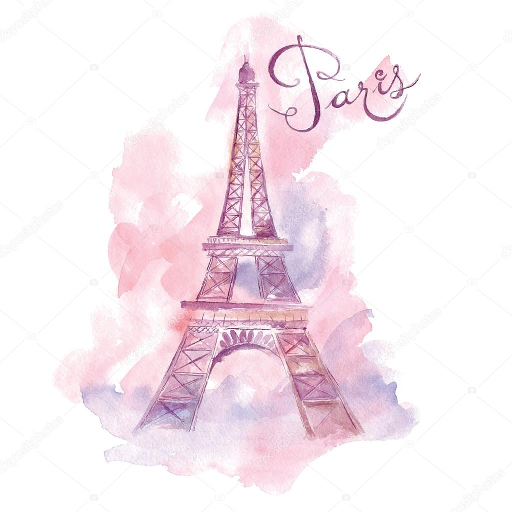 watercolor Eiffel Tower
