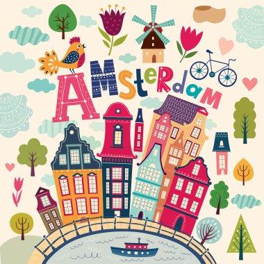 llustration with Amsterdam symbols