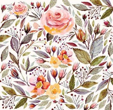 "Картина, постер, плакат, фотообои ""Floral watercolor pattern"", артикул 78828584"