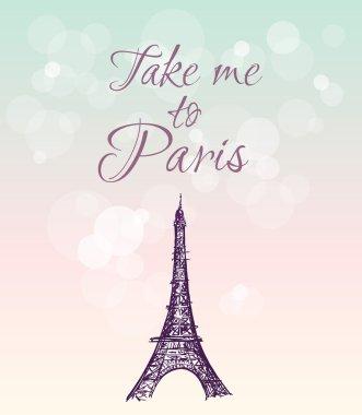 illustration with Eiffel tower, Paris