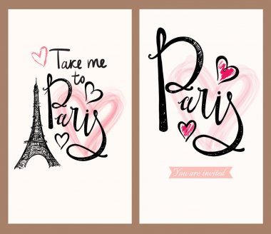 postcards with Eiffel tower and Paris