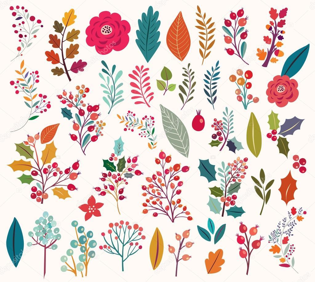 Coleccion De Vintage Flores Y Hojas Vector De Stock C Molesko