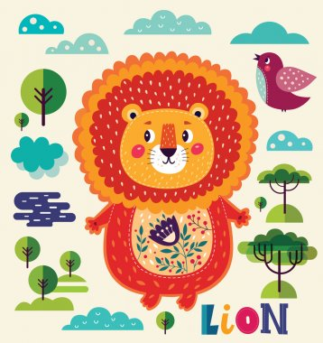 Cartoon character fun lion