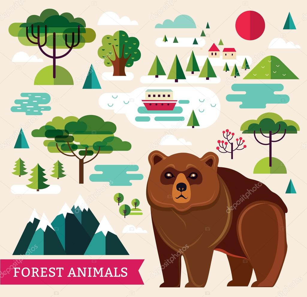 forest animals and trees