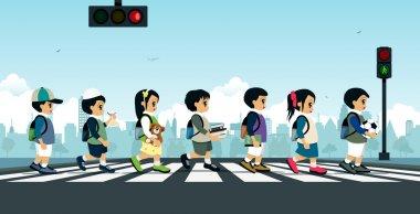 Students walking on a crosswalk