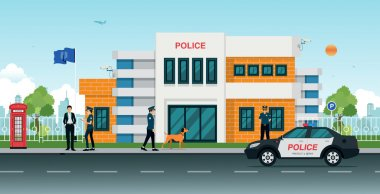 Police station with police cars