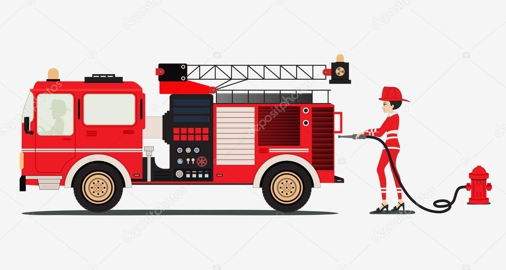 camión de bomberos — Archivo Imágenes Vectoriales © intararit #60207471