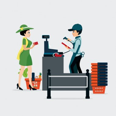 Women pay by credit card