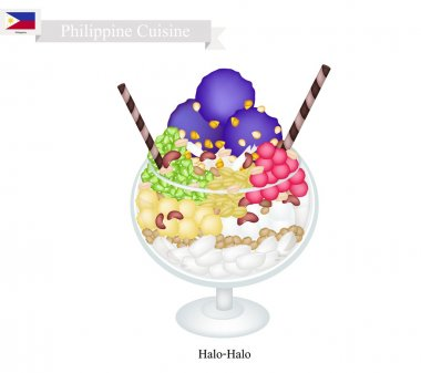 Halo Halo or Filipino Shaved Ice with Milk and Fruits